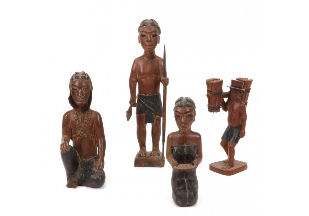 Lot of 4 Bara wooden figures from Madagascar