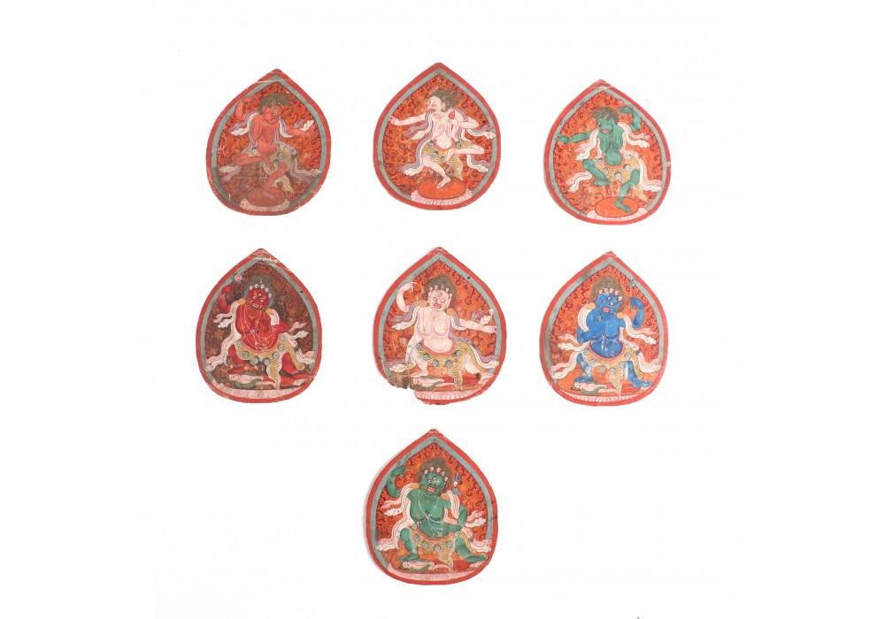 Lot of seven Tibetan tsakli
