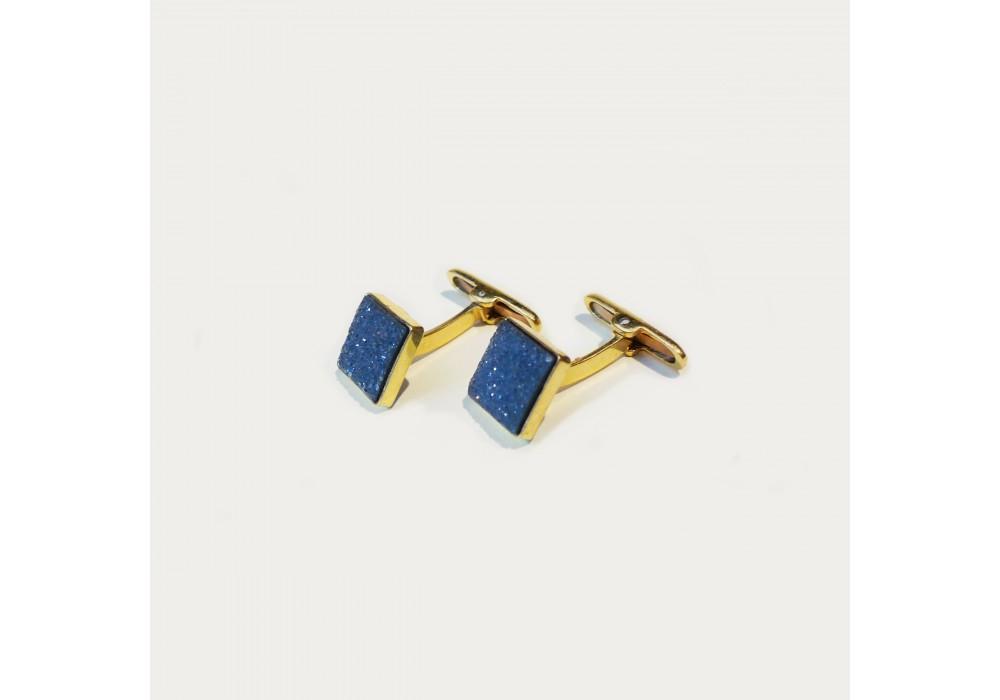 Paire de boutons de manchettes en onyx en cristaux et or