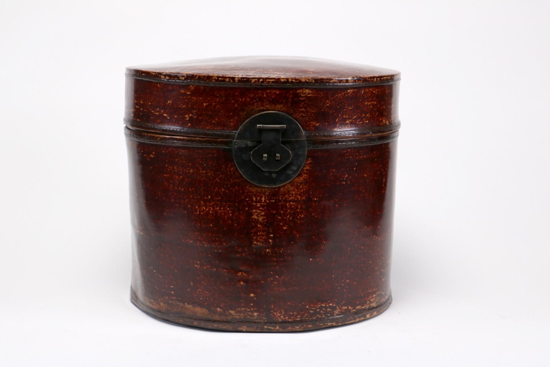 nouveaux styles les clients d'abord bonne réputation Boîte à chapeaux en cuir, Chine, déb. 20e s.