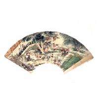Eventail à décor d'une scène de jardin, dynastie Qing