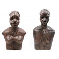Paire de bustes en bois sculptés représentant un couple, période coloniale, Madagascar (?)