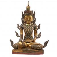 Grand Bouddha Jambupati en bois laqué et doré, Birmanie
