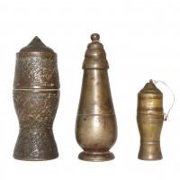 Ensemble de trois boîtes à chaux en bronze, Thaïlande