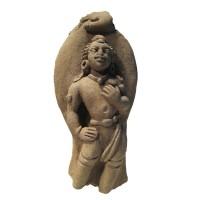 Figure de gardien ou d'un dieu mineur Gupta en terre cuite