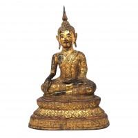 Bouddha assis en bronze doré, Thaïlande