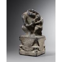 Poteau d'harnachement en pierre représentant une paire de singes sculptés, Chine, 18e - 19e s.