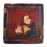 Tuile en terre cuite laquée utilisée comme chauffe lit, Chine