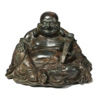 Figure de Hotei (le bouddha rieur) en bronze, Chine, 19e - 20e s.