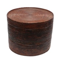 Boîte à chapeaux cylindrique à étages multiples en rotin