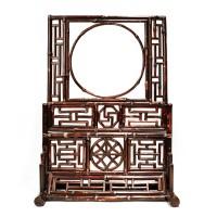 Modèle réduit d'un écran de table en bambou laqué, Chine, 19e s.