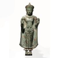 Figure de Bouddha Sakyamuni Khmer en bronze, 12e - 13e s.