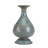 Flasque avec couvercle Khmer en bronze, Cambodge, 12e - 14e s.