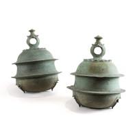 Paire de cloches Khmer en bronze