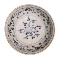 Assiette en porcelaine bleu blanc, Vietnam, 15e s.