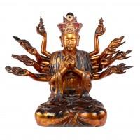 Grande figure d'Avalokitesvara à dix-huit bras en bois laqué or