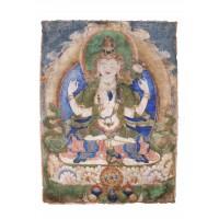 Peinture répresentant Avalokitesvara, Tibet