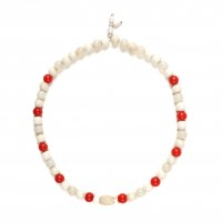 ISA B // Necklace made of white and red glass beads