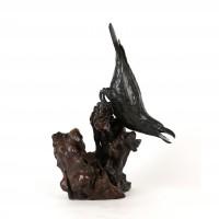 Sculpture en bronze représentant un corbeau, ère Meiji