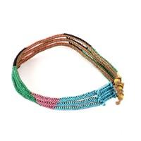 Collier Zulu orné de perles de verre multicolore