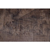 Peinture à décor d'une scène, encre sur papier, dynastie Qing