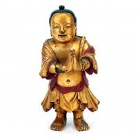 Figurine en bois laqué or, Chine ou Japon (?)
