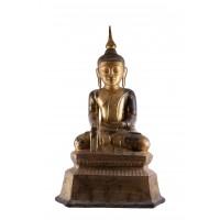 Grande figure du Bouddha en laque sèche, Birmanie