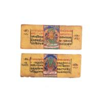 Deux pages de manuscrit du Népal
