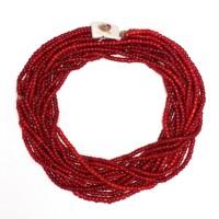 Collier Naga à rangées mulitples de perles de verre rouge, 18e - 19e s.