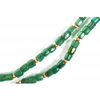 Collier de javanais en perles de verre transparentes vertes