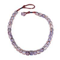 Collier de perles de verre vénitien rayé, Italie, 19e s.