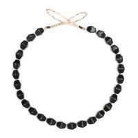 Collier de perles de verre opaque noir, République Tchèque, milieu 20e s.
