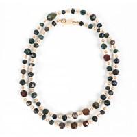 Collier/sautoir de perles en jaspe