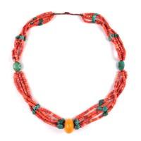Collier à rangées multiples en corail et turquoise, Tibet, 19e - 20e s.