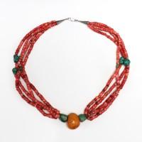 Collier à rangées multiples en corail et turquoise, Tibet, 19e s.