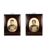 Paire de portraits d'ancêtres, Chine