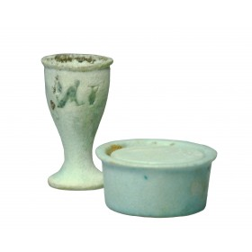 Ancient Egyptian faience cosmetic set