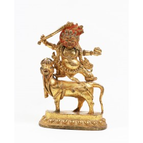 Tibetan gilt-bronze figure of Sri Devi riding a mule