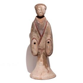 """Figure funéraire Han, """"Dame de cour"""", en terre cuite polychrome"""