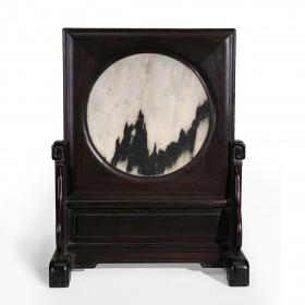 """Ecran de Table en bois """"Zitan"""" et pierre de rêve en marbre, Chine, 18e s."""