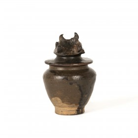 Small stoneware Container with a roof-shaped lid