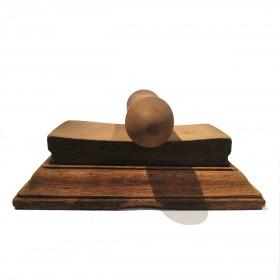 A Thai sandstone Mortar and Grinder on wooden bases