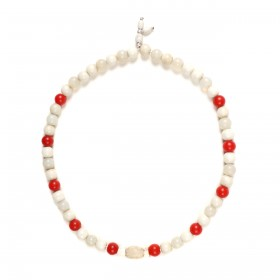 Necklace made of white and red glass beads