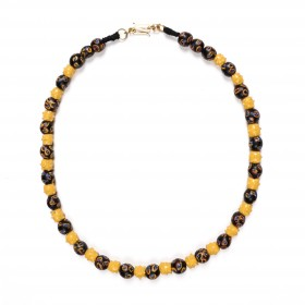 Necklace with very rare yellow raised eyes beads