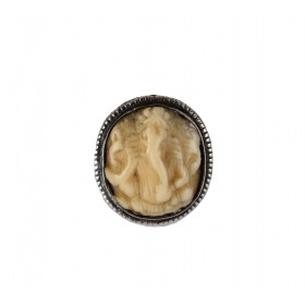 Indian silver ring with ivory engraved incrustation depicting the god Ganesh