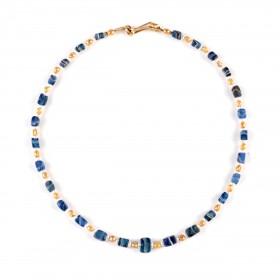ISA B // Collier de perles de verre rayé bleu