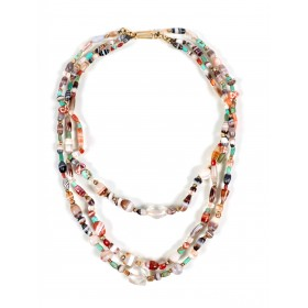 Collier à trois rangées de perles mélangées, période Hellénistique