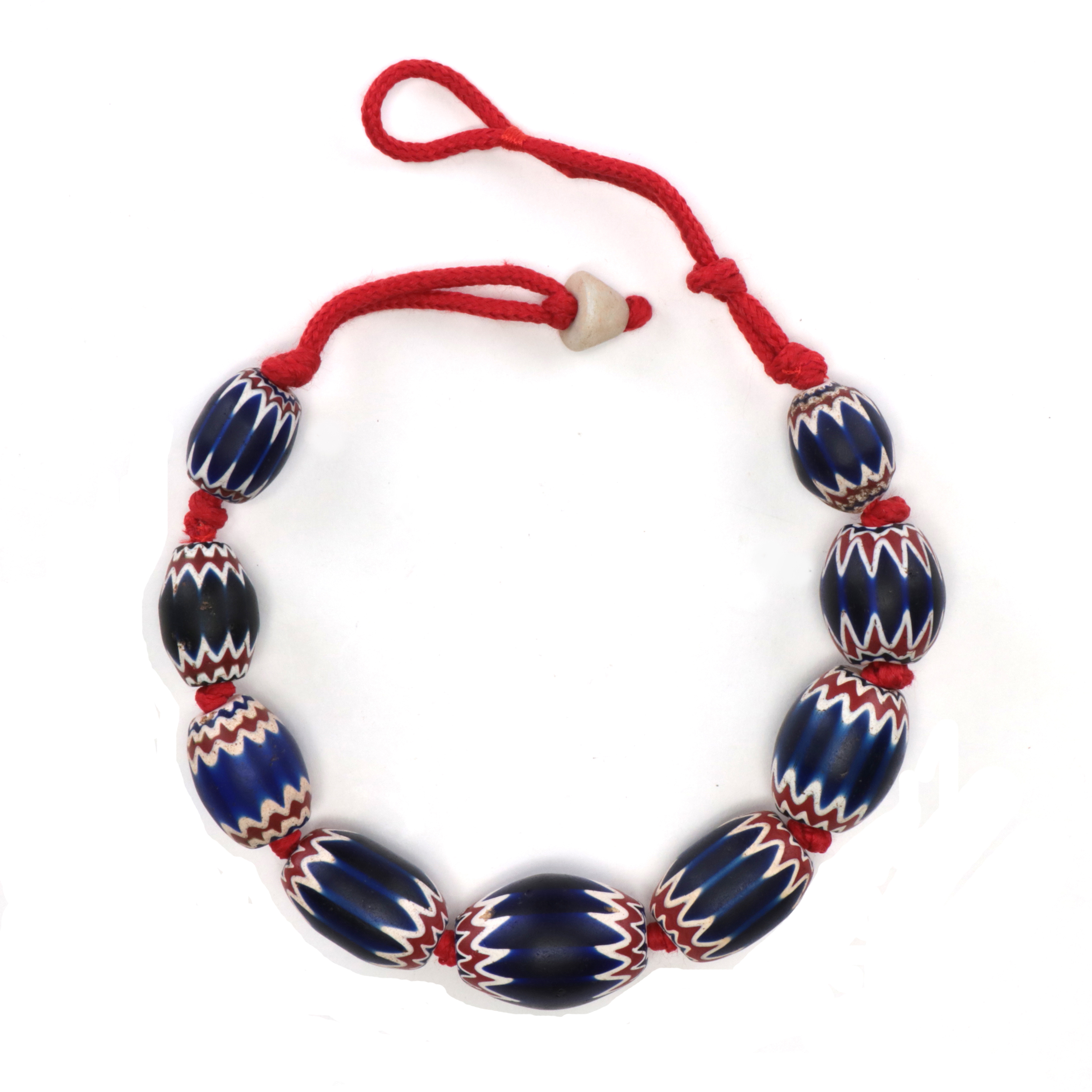 necklace in venetian chevron glass beads